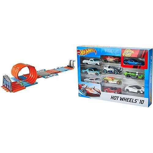 Hot Wheels FTH77 - Track Builder Mega Rennbox, Tragbare Spielzeugauto Rennbahn Kiste mit Tracks und Zubehör, Spielzeug ab 6 Jahren &  Wheels 54886 1:64 Die-Cast Auto Geschenkset