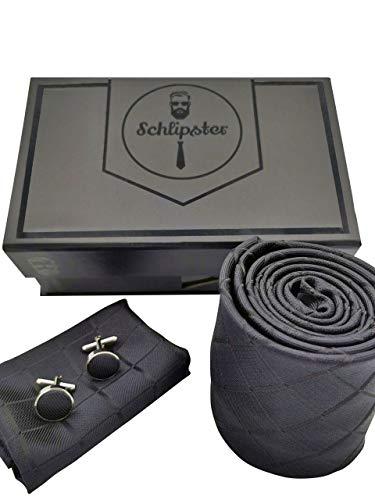 Schlipster Krawatten-Set - Premium Box mit Krawatte, Einstecktuch und Manschettenknöpfen (Schwarz Kariert)