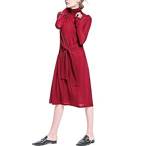 Damen Pullover Langarm Strickkleid Rollkragen Wollkleid knielang Jerseykleid Herbst Winter kleid