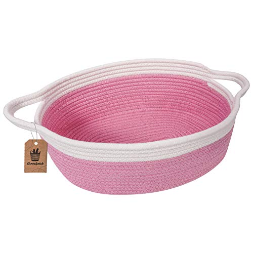 Goodpick Small Woven Basket   Cute Blue Rope Basket   Baby Cotton Basket   Nursery Room Storage Basket   Toy Chest Box with Handles Basket 12