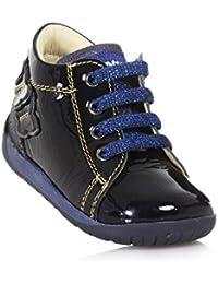 Falcotto Zapato Azul de Cordones de Charol y Tejido con Glitter Posterior, Bebé Niña