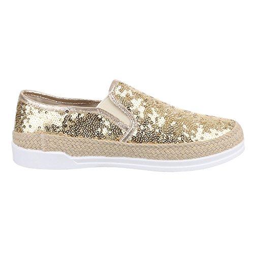 Ital-Design Slipper Damenschuhe Low-Top Moderne Halbschuhe Gold