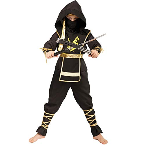 Sea Hare Kinder Black Ninja Power Samurai Warrior Costume (M :7-9 - Ninja Warrior Kind Kostüm