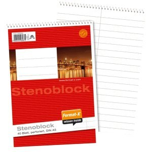 Format-X Stenoblock A5 70g/qm 40 Blatt liniert