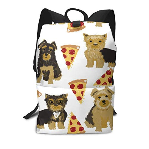 Backpack Yorkie Pizza Yorkshire Terriers Funny Cute Dog Novelty Food Print for Best Dog Laptop Backpack Student School Bookbag Casual Durable Rucksack Travel Daypack - Yorkie Dog Food