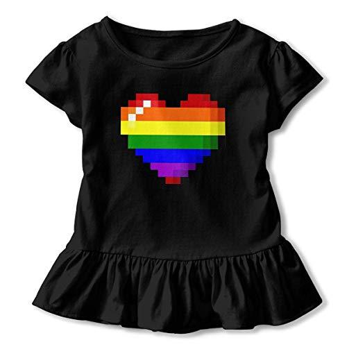 Rainbow Gay Pride Heart Shirts, Fashion Tunic Shirt Kleid with Flounces, 2-6T ()