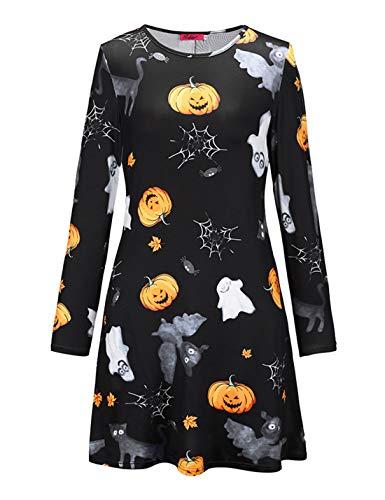 Naliha Frauen Halloween Kleider Swing Geist Print - -