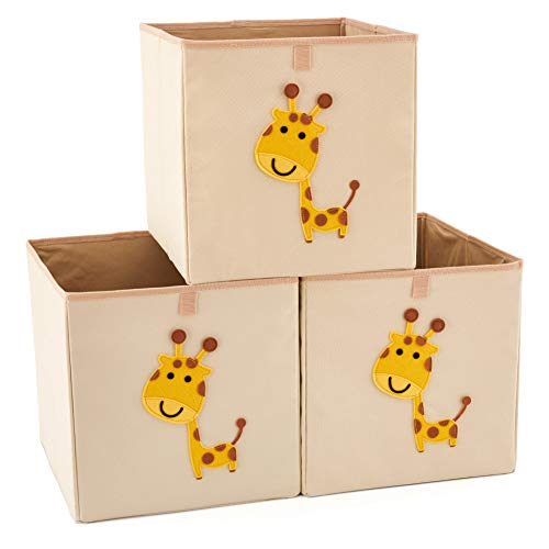 EZOWare 3er-Set Aufbewahrungsbox, Tier Drucken Aufbewahrungskiste ohne Deckel für Kinderzimmmer, Zuhaus, Spielzeug, Kinder (33 x 38 x 33cm, Giraffe) -