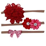 Lomsarsh 2pcs bambini fascia floreale ragazze bambino elastico bowknot accessori set fasce per capelli arco dei capelli del fiore della fascia dei bambini tre pezzi vestito