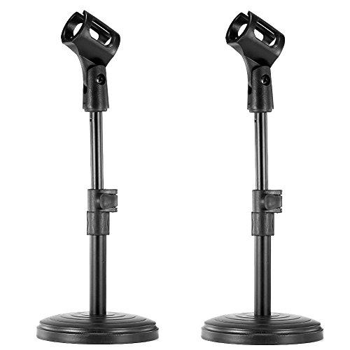 Neewer Set di NW nero regolabile altezza di ferro di base Desktop supporto per microfono con microfono clip di titolare