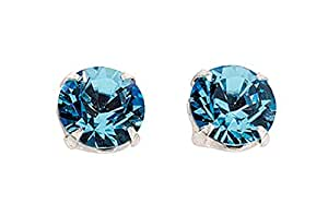 Aquamarine Boucles Swarovski Cristal en argent