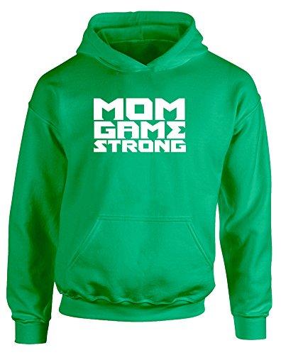 Mom Game Strong, Gedruckt Kinder Kapuzenpullover - Grün/Weiß 7-8 Jahre