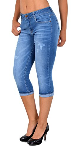 c685673c86c1 ESRA Damen Capri Jeans Hose mit Risse Damen Kurze Jeans Hose Capri bis  Übergröße 50  J324