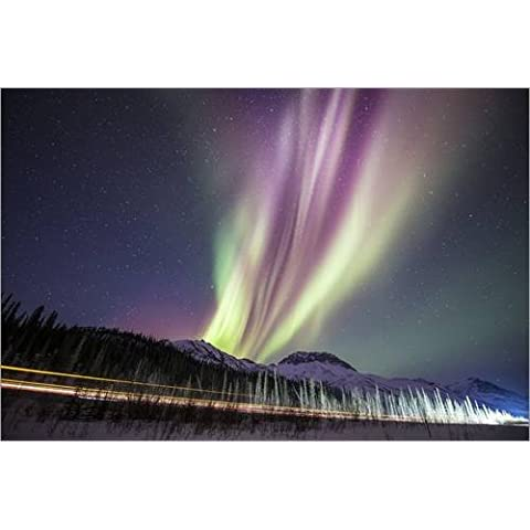 Impresión en madera 120 x 80 cm: Aurora Borealis in Alaska de Chris Madeley / Science Photo Library