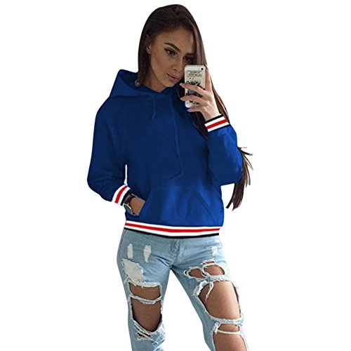 Yalatan Exquisite Women Fashion Casual Crop Top Hooded Sweater blue