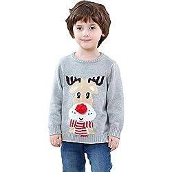 Shineflow niños Rudolph El Reno 3D Nariz roja Ugly Christmas Sweater Jumper