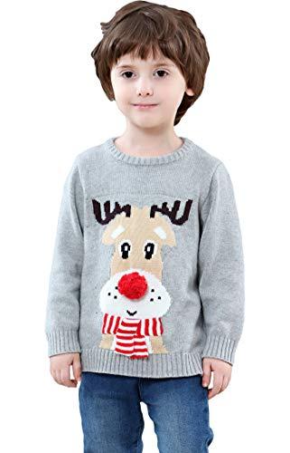 Shineflow, maglione da bambino con immagine natalizia di Rudolph, la renna dal naso rosso,...