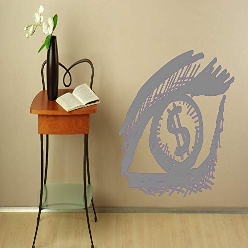Kreative Augen Vision Dollar Vinyl Wandbild Home Schlafzimmer Spezielle Dekoration Kunst Wandaufkleber Auge Muster Tapete grau 56x74 cm