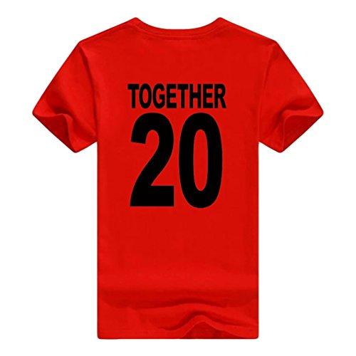 NiSeng Coppia Stampa Camicia Casual Manica Corta T-Shirt Estate Lovers Camicia Magliette Rosso Nero2