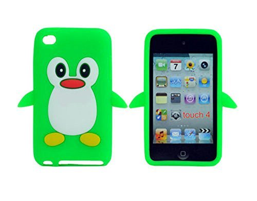 Tsmine Apple Ipod Touch 4. Generation Pinguin-Karikatur-Fall - Cute 3D Penguin Weiche Silikon-Rückseite waschbar Cover Case Schutzhülle für iPod Touch 4. Gen., Grün