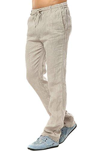 Leinen Locker (Insun Herren Leinenhose Leinen Hose Loose Freizeit Flachs Kordelzug Hosen Mit Elastisch Luftig Und Locker Pants Beige 52)