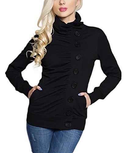 WanYang Femme Automne Hiver Col Haut Fleece Hoodie Jumper Capuche Sweats Shirt Sweat Shirt Hoodie Pull Hoodie Dames élégance Sportive Noir