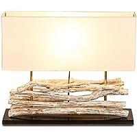 Tischlampe Holzlampe Massivholz Lampe 46cm Kiefer natur Hanfseil Nachttischlampe
