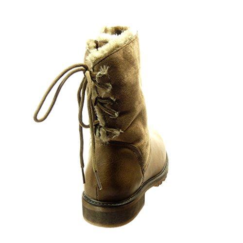 Angkorly Nodo Pelliccia Donne Kaki Blocco Tallone Centimetri Del Bimateriale Scarpa Stivali Moda 2 5 FpSqw6TF