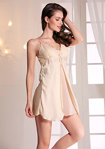 Missley Damen Imitation Seide Rock Pyjamas Sling-Spitze-Kleid-reizvolle Spitze-Pyjamas Pyjamas Startseite Champagne