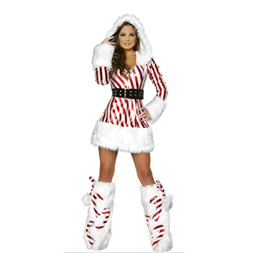 in Womens Fashion Xmas Kostüm Hooded Fancy Dress Weihnachten Outfit (Xmas Fancy Dress Kostüme)