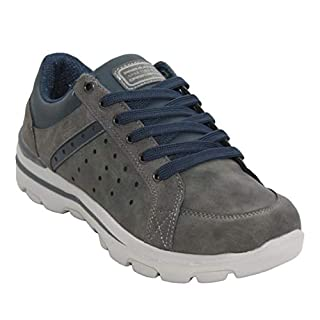 A&H Footwear Mens Casual Lace Up Memory Foam Walking Hiking Outdoor Comfort Trainers Shoes UK Sizes 7-12 (UK 10, Grey)