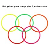 Enlarge toy image: JTDEAL 15PCS Toss Rings Plastic Multicolor Activity Rings 5.71 Diameter Kids Rings for Children Party School Festival Outdoor Indoor Ring Toss Games Speed and Agility Training Games