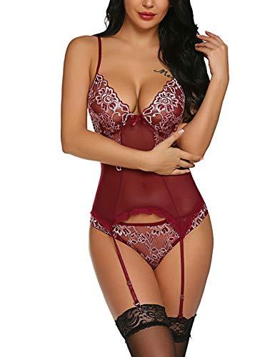 Meaneor_Fashion_Origin Damen Dessous Body Strapsen Negligee Sexy Bodysuit Unterwäsche Ungefüttert Bralette Reizwäsche Floral Spitze Babydoll Strumpfband Set Erotik -