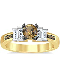 Silvernshine 1.35Ct Round & Buget Cut Citrine Sim Dimoands 14K Yellow Gold Plated Engagement Ring