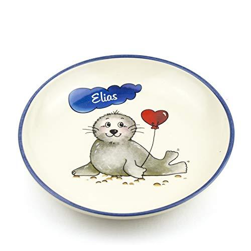Teller mit Namen tief D 21cm in 9 möglichen Motiven Kinderteller aus Keramik Kindergeschirr mit Wunschbeschriftung (Robbe)