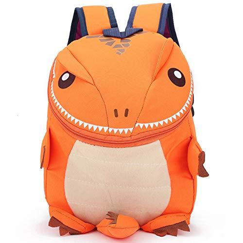 Zaino scuola zaino carino dinosauror orange con redini, impermeabile zaino piccolo kindergarten impermeabile - animale scuola borsa(dinosauro arancione)