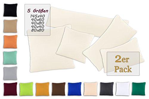 SHC Kissenbezug Doppelpack 40x60 cm in naturweiß / creme als Deco Kissen Zierkissen Couchkissen Sofakissen oder Kopfkissenbezug mit Reißverschluss aus 100% Baumwolle