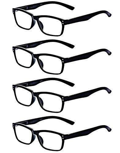 ALWAYSUV 4 Stück Schwarz Federn-Scharnier Lesebrille Klassische Lesehilfen Sehhilfen Brille 3.5