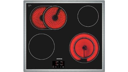 Siemens ET645HN17 iQ300 Kochfeld Elektro / Edelstahl / 58,3 cm / Dank touchControl-Bedienung werden die Kochzonen durch leichtes Antippen mit dem Finger aktiviert und gesteuert / schwarz