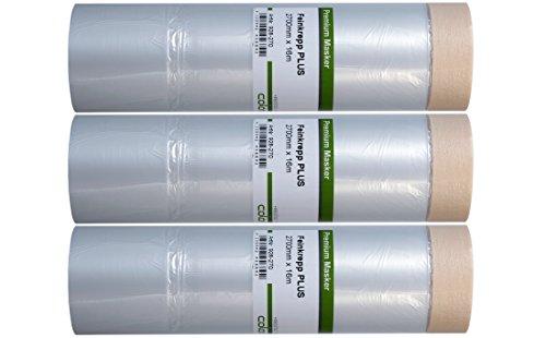Preisvergleich Produktbild 3 x Colorus Malerkrepp Masker Tape 16 m PROFI mit 270 cm Abdeckfolie - Abdeckband - Krepp Klebeband mit Malerfolie