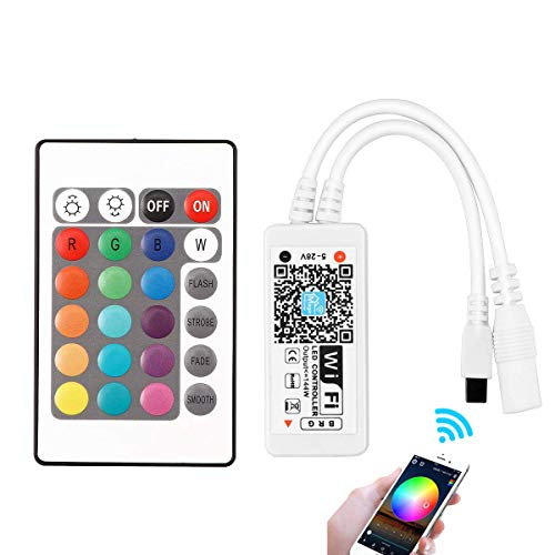 WOWLED Wireless WiFi Smart Controller for 5050 3528 RGB LED Lights,  Compatible with Alexa, Magic Home, Suitable for Android and iOS System  Mobile