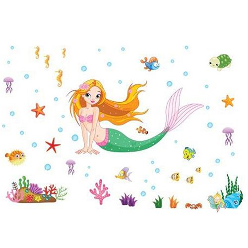 Prinzessin Schlafzimmer (ZHOUBA - Meerjungfrau-Prinzessin-Kinderzimmer, Schlafzimmer, Badezimmer-Dekoration, PVC-Wandaufkleber, PVC, multi, Einheitsgröße)
