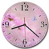 Homeyourself LAUTLOSE Runde Wanduhr Blumen Schmetterling rosa lila violett aus Metall Alu-Verbund lautlos Uhrwerk rund modern Dekoschild Bild 30 x 30cm