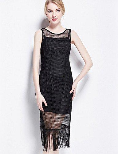 PU&PU Robe Aux femmes Ample Street Chic,Couleur Pleine Col Arrondi Midi Coton / Polyester BLACK-S