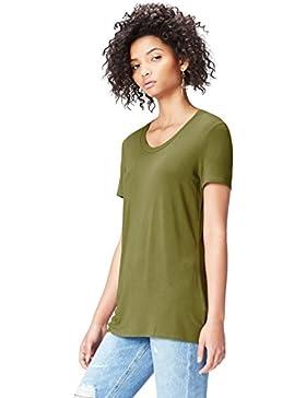 FIND T-Shirt Lunga con Scollo Rotondo Donna
