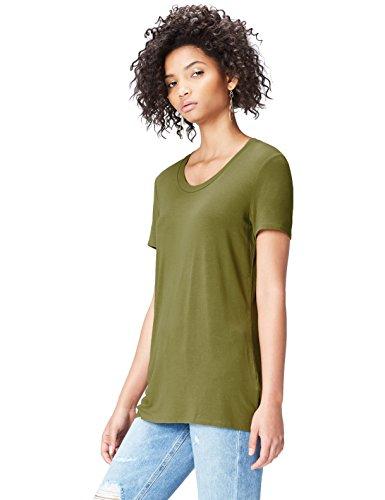FIND T-Shirt Damen Rundhals und Kurze Ärmel Grün (Green Khaki), 34 (Herstellergröße: X-Small) (T-shirt Ärmel Kurze Lange)