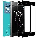 TAURI Protection écran pour Sony Xperia XZ1 [2 Pièces] [Couverture Complète] [9H Dureté] Film Protection Verre Trempé - Noir