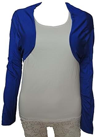 10 Farben Damen Bolero Jacke Gr. 42 44 46 48 50 (Blau)