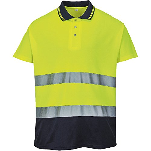 Portwest Mens Hi Visibility Two Tone Cotton Comfort Work Polo Shirt -