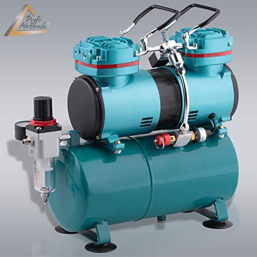 Amur Profi-Airbrush Kompressor zum Schnäppchenpreis, das Gerät f. Anfänger/Fortgeschrittene f. individ. Airbrush-Set, mit/ohne Manometer, Vorfilter-Wasserabscheider für Airbrush Farbe